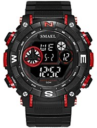 cheap -Men's Sport Watch Digital Watch Digital Quilted PU Leather Black / Red / Clover Water Resistant / Waterproof Noctilucent Large Dial Digital Casual Fashion - Black / Blue Black / Silver Black / Rose