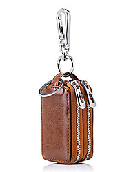 cheap -Cowhide Zipper Key Holder Solid Color Daily Brown / Pink / Dark Red / Fall & Winter