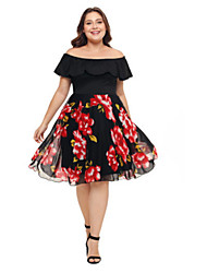 cheap -Women's Plus Size Daily Elegant Sheath Dress - Floral Print Off Shoulder Black XXXL XXXXL XXXXXL / Sexy