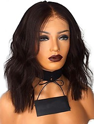 cheap -Remy Human Hair 4x4 Closure Lace Front Wig Bob Short Bob Deep Parting style Indian Hair Natural Wave Black Wig 130% Density with Baby Hair Middle Part Bob Silk Base Hair Natural Hairline Women's Short