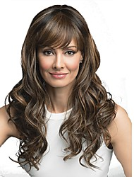 cheap -Synthetic Wig Curly With Bangs Wig Long Medium Brown / Bleached Blonde Synthetic Hair 24 inch Women's Synthetic Brown