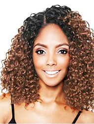 cheap -Virgin Human Hair Lace Front Wig Bob Rihanna style Brazilian Hair Curly Brown Wig 150% Density Cool Thick with Clip curling With Bleached Knots Women's Short Human Hair Lace Wig Ombre WoWEbony
