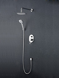 cheap -Shower Set Set - Rainfall Modern Style Chrome Wall Mounted Ceramic Valve Bath Shower Mixer Taps / Brass
