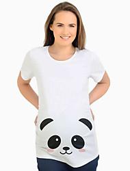 cheap -Women's Daily Street chic Maternity T-shirt - Cartoon White