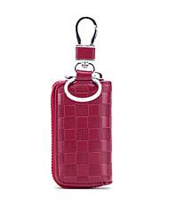 cheap -Cowhide Zipper Key Holder Lattice Daily Coffee / Pink / Dark Red / Fall & Winter