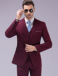 cheap -Burgundy Solid Colored Tailored Fit Polyester Suit - Notch Single Breasted One-button / Suits
