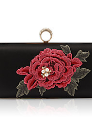 cheap -Women's Crystals / Embroidery / Pearls PU / Alloy Evening Bag Rhinestone Crystal Evening Bags Floral / Botanical Black / Red / Fall & Winter