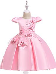 cheap -Ball Gown Knee Length Flower Girl Dress - Cotton Blend Cap Sleeve Jewel Neck with Appliques / Pleats