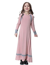 cheap -Kids Girls' Vintage Basic Daily Holiday Solid Colored Patchwork Long Sleeve Maxi Dress Red