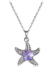 cheap -Women's Purple Crystal Amethyst Pendant Necklace Figaro Starfish Classic Fashion Elegant Silver Plated Chrome Imitation Diamond Silver 43 cm Necklace Jewelry 1pc For Daily Formal