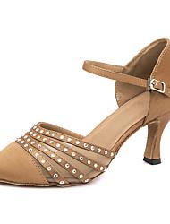 cheap -Women's Modern Shoes / Ballroom Shoes Satin Heel / Sneaker Crystals / Glitter Slim High Heel Customizable Dance Shoes Brown / Performance