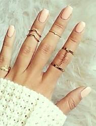 cheap -Women Knuckle Ring Geometrical Gold Silver Alloy Leaf Stylish Geometric Trendy 6pcs 9 / Women's / Ring Set