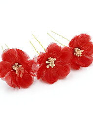 cheap -Tulle Hair Pin with Floral 3 Pieces Wedding / Party / Evening Headpiece