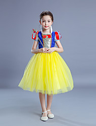 cheap -Princess Cosplay Costume Flower Girl Dress Kid's Girls' A-Line Slip Dresses Christmas Halloween Carnival Festival / Holiday Tulle Cotton Yellow Carnival Costumes Princess