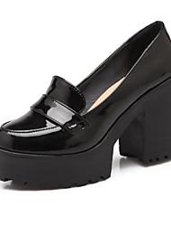 cheap -Women's Patent Leather / PU(Polyurethane) Spring Sweet / Minimalism Heels Chunky Heel Round Toe Black / Beige / Almond