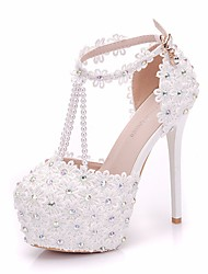 cheap -Women's Lace / PU(Polyurethane) Spring & Summer Sweet Wedding Shoes Platform Round Toe Imitation Pearl / Buckle White