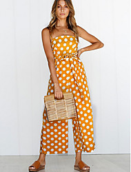 cheap -Dreamy Land Women's Polka Dot Kentucky Derby Going out / Work Strap White Yellow Green Wide Leg Jumpsuit Onesie, Polka Dot S M L Sleeveless