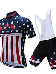 cheap -Men's Short Sleeve Cycling Jersey with Bib Shorts Polyester Black White American / USA National Flag Bike Clothing Suit Breathable Moisture Wicking Sports American / USA Mountain Bike MTB Road Bike