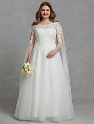 cheap -A-Line Wedding Dresses Jewel Neck Floor Length Lace Tulle Long Sleeve Cutouts with Lace Beading 2021