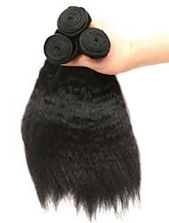 cheap -3 Bundles Indian Hair Yaki Straight Human Hair Unprocessed Human Hair Headpiece Natural Color Hair Weaves / Hair Bulk Hair Care 8-28 inch Natural Color Human Hair Weaves Fashionable Design Classic