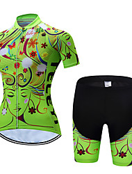 cheap -Women's Short Sleeve Cycling Jersey with Shorts Polyester Yellow Red Pink Floral Botanical Bike Clothing Suit Breathable Quick Dry Moisture Wicking Sports Floral Botanical Mountain Bike MTB Road Bike