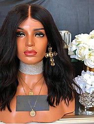 cheap -Remy Human Hair Lace Front Wig Bob Rihanna style Brazilian Hair Water Wave Black Wig 130% 150% 180% Density 8-26 inch with Baby Hair Natural Hairline Unprocessed Pre-Plucked Bleached Knots Black