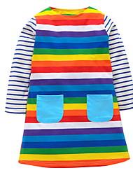 cheap -Kids Girls' Basic Solid Colored Long Sleeve Dress Rainbow