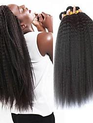 Недорогие -3 Связки Бразильские волосы Естественные прямые Необработанные натуральные волосы 150 g Человека ткет Волосы Пучок волос One Pack Solution 8-28 дюймовый Естественный цвет Ткет человеческих волос