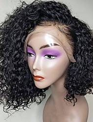 cheap -Remy Human Hair 360 Frontal Wig Asymmetrical style Brazilian Hair Curly Natural Wig 150% Density Party Classic Comfortable 100% Virgin Women's Short Human Hair Lace Wig Luckysnow