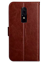 cheap -Case For OnePlus OnePlus 6 Wallet / Card Holder / with Stand Full Body Cases Solid Colored Soft PU Leather