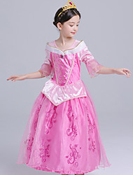 cheap -Princess Aurora Cosplay Costume Flower Girl Dress Kid's Girls' A-Line Slip Dresses Mesh Christmas Halloween Carnival Festival / Holiday Silk Organza Fuchsia Carnival Costumes Lace / Cotton