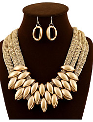 cheap -Women's Gold Statement Necklace Thick Chain Unique Design Hyperbole Imitation Diamond Earrings Jewelry Gold For Wedding Party 1 set
