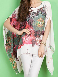cheap -Women's Daily Weekend Street chic Batwing Sleeve Oversized Blouse - Floral Print Black / Spring / Summer