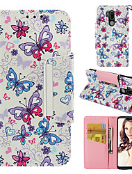cheap -Case For LG LG G7 Wallet / Card Holder / Flip Full Body Cases Butterfly Hard PU Leather