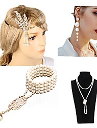 cheap -The Great Gatsby Charleston 1920s The Great Gatsby Costume Accessory Sets Flapper Headband Women's Tassel Costume Head Jewelry Pearl Necklace Black / Red black / Golden Vintage Cosplay Mini