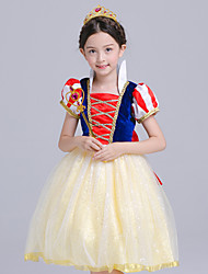 cheap -Princess Cosplay Costume Flower Girl Dress Kid's Girls' A-Line Slip Active Christmas Halloween Carnival Festival / Holiday Silk Organza Yellow Carnival Costumes Solid Colored / Cotton