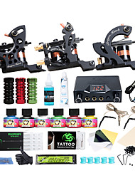 cheap -Tattoo Machine Starter Kit - 3 pcs Tattoo Machines with 6 x 5 ml tattoo inks LCD power supply Case Not Included 3 cast iron machine liner & shader