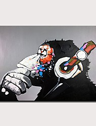 cheap -Oil Painting Hand Painted Abstract / Pop Art Modern Rolled Canvas Rolled Without Frame
