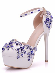 cheap -Women's PU(Polyurethane) Spring & Summer Sweet Wedding Shoes Platform Round Toe Rhinestone / Buckle Blue