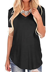 cheap -Women's Daily Going out Basic / Street chic Plus Size T-shirt - Solid Colored Cut Out V Neck Red / Summer
