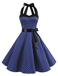 cheap -Audrey Hepburn Polka Dots Retro Vintage 1950s Summer Dress Women's Costume Black / White / Ink Blue Vintage Cosplay Homecoming Sleeveless Knee Length