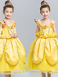 cheap -Belle Cosplay Costume Flower Girl Dress Kid's Girls' A-Line Slip Dresses Mesh Christmas Halloween Carnival Festival / Holiday Tulle Lace Yellow Carnival Costumes Lace / Cotton