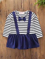 cheap -Baby Girls' Active / Basic Daily / Holiday Blue & White Striped Stripe / Basic Long Sleeve Cotton Bodysuit Blue / Toddler