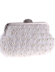 cheap -Women's Bags Polyester Satin Evening Bag Pearls Crystals Solid Color Party Event / Party Date White