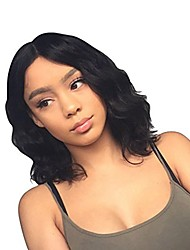 cheap -Remy Human Hair 360 Frontal Wig Bob style Brazilian Hair Natural Wave Natural Wig 130% Density Women Fashion Comfortable 100% Virgin Women's Short Human Hair Lace Wig Luckysnow
