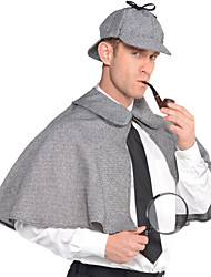 cheap -Sherlock Holmes Cloak Movie Cosplay Gray Cloak Hat Christmas Halloween New Year Polyster