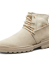 cheap -Men's Combat Boots PU Winter Casual Boots Non-slipping Mid-Calf Boots Black / White / Beige