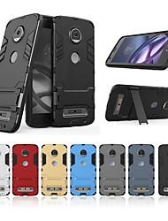 Недорогие -Кейс для Назначение Motorola Moto Z2 play Защита от удара / со стендом Кейс на заднюю панель Однотонный / броня Твердый ПК