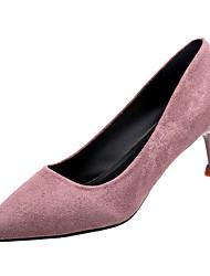 cheap -Women's Heels Kitten Heel Pointed Toe PU Minimalism Winter Black / Light Purple / Red / Daily