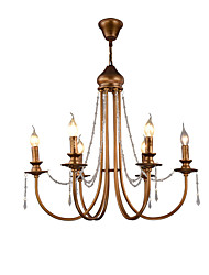 cheap -QINGMING® 6-Light 60 cm Crystal / Mini Style Chandelier Metal Mini Brushed / Painted Finishes Retro / Country 110-120V / 220-240V